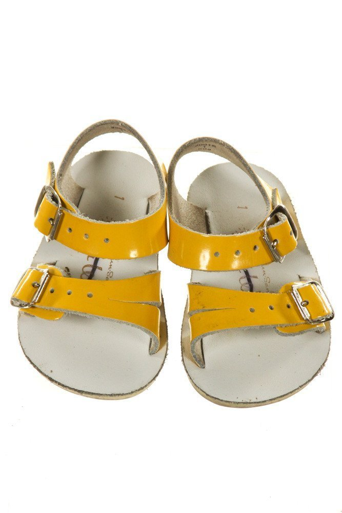 YELLOW SUN SANS/ SALTWATER SANDALS *SIZE INFANT 1, VGU - LIGHT WEAR AND DISCOLORATION