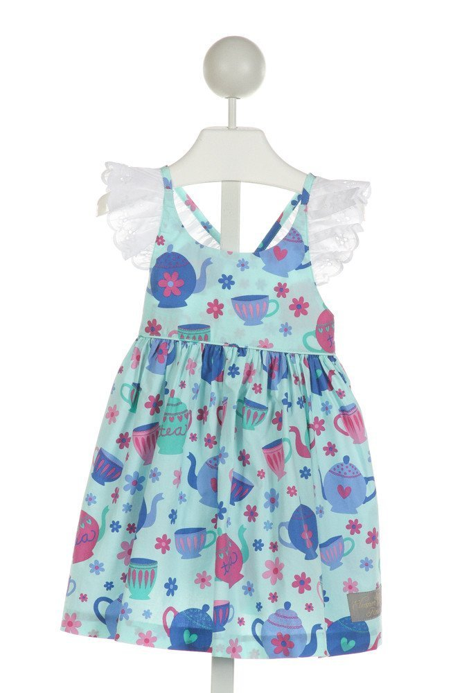 ELEANOR ROSE  LT BLUE  FLORAL PRINTED DESIGN DRESS WITH EYELET TRIM