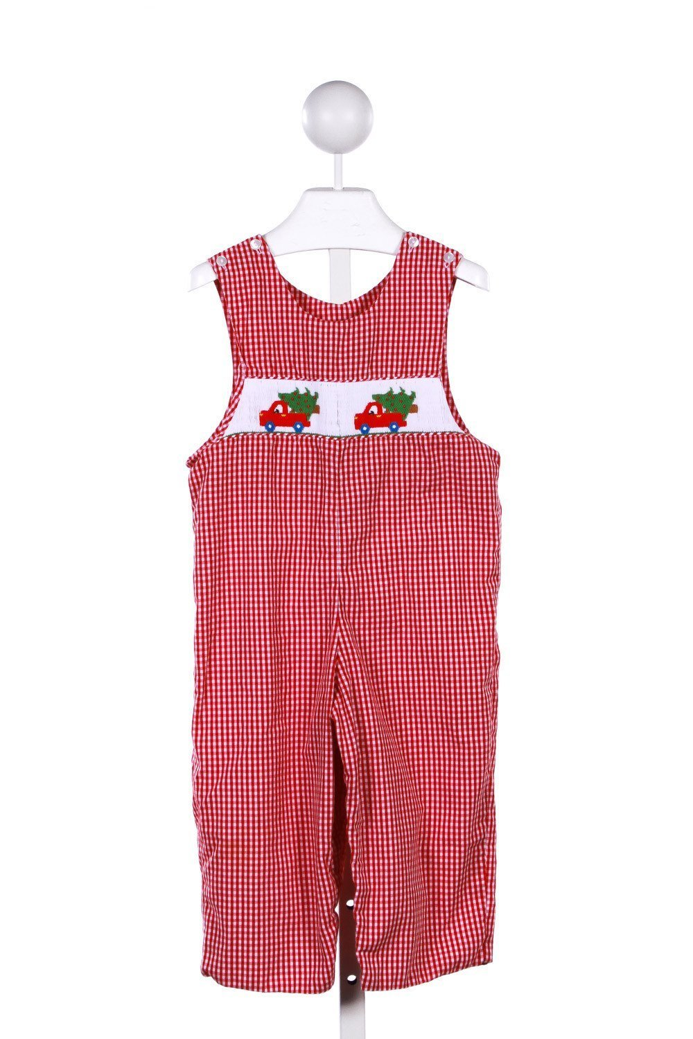 396111a5c ANAVINI RED GINGHAM LONGALL WITH CHRISTMAS TREE CAR SMOCKING *FAINT SPOT ON  LEG