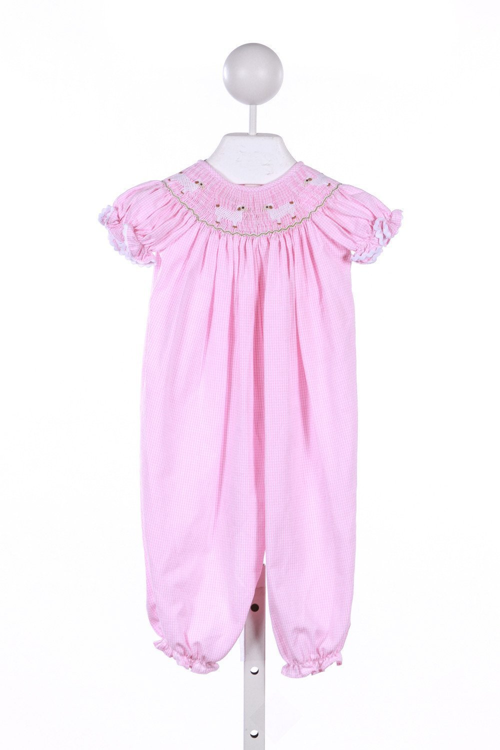 CECIL & LOU PINK GINGHAM ROMPER WITH SHEEP SMOCKING