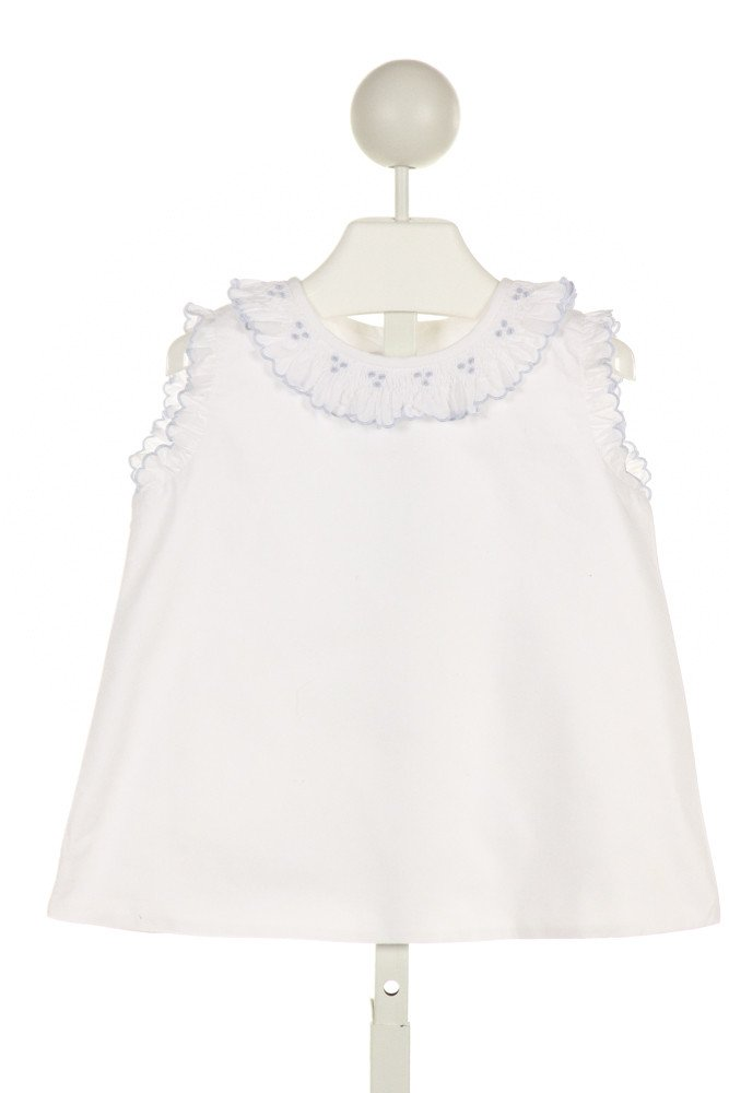 ALICE KATHLEEN  WHITE   SMOCKED CLOTH SS SHIRT WITH RUFFLE