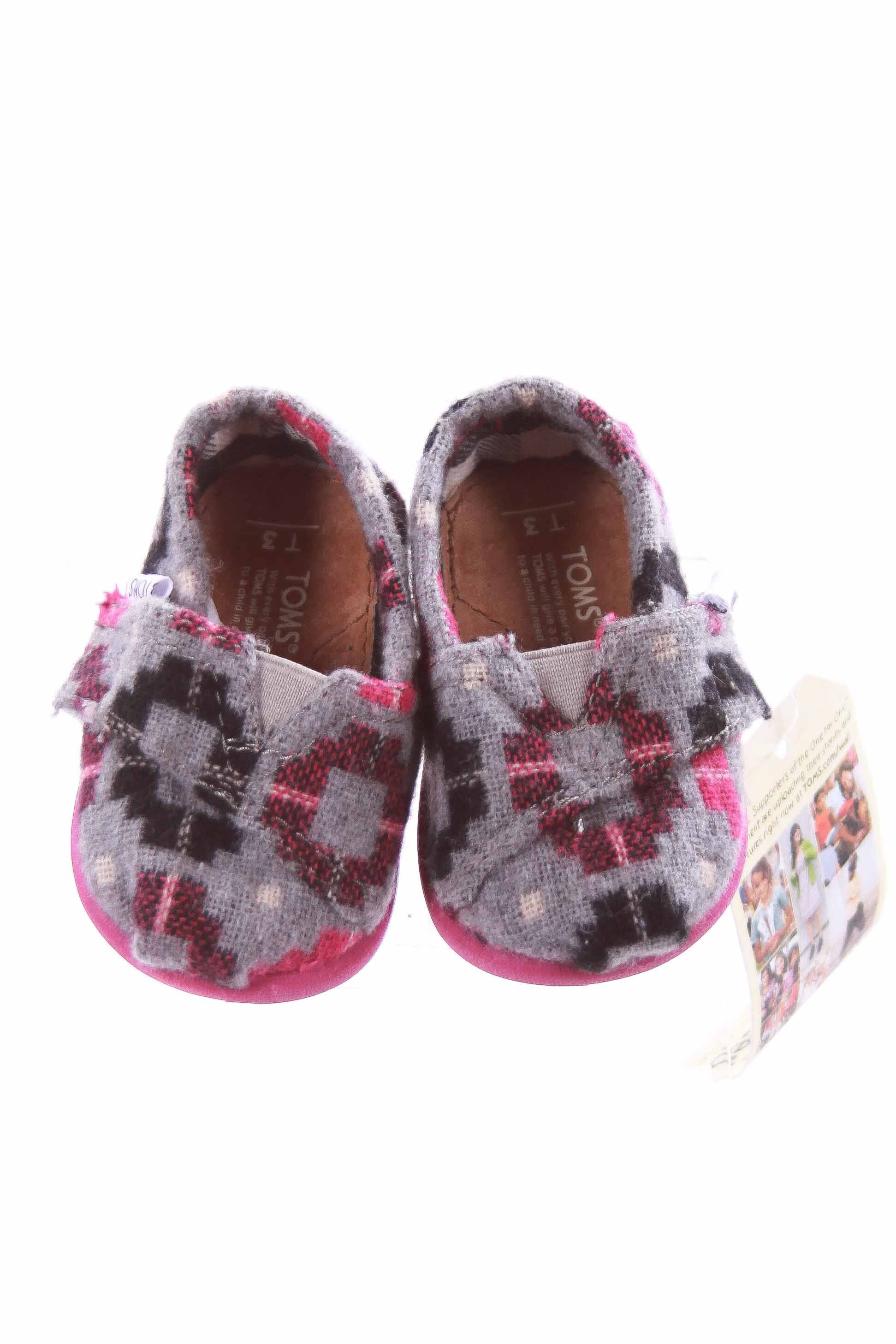 TOMS GRAY, BLACK AND PINK PATTERN SHOES INFANT SIZE 3 *NWT