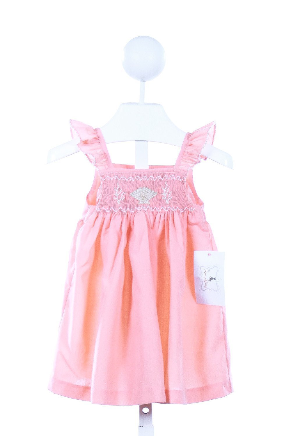 THE SMOCKLING  ORANGE   SMOCKED CASUAL DRESS