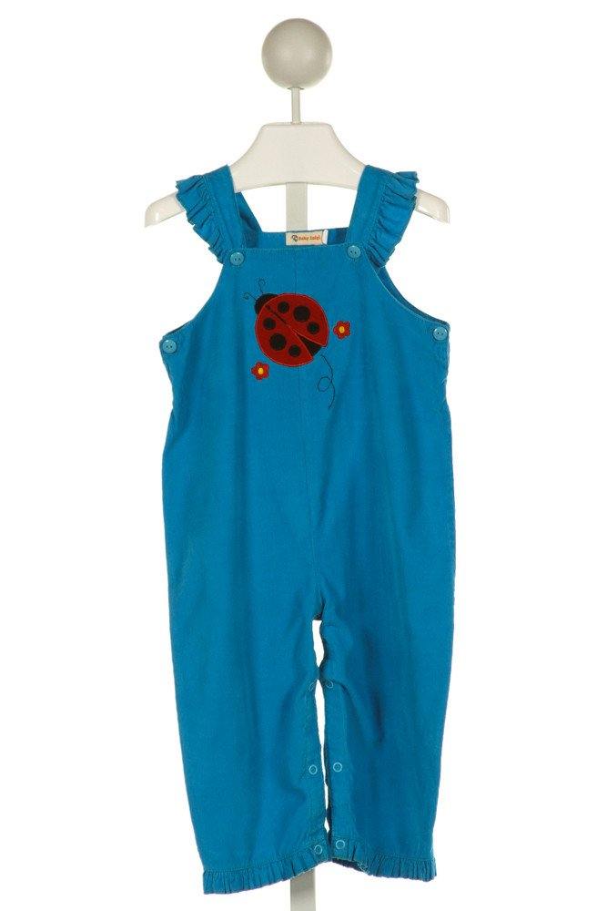 LUIGI  BLUE CORDUROY  EMBROIDERED ROMPER WITH RUFFLE