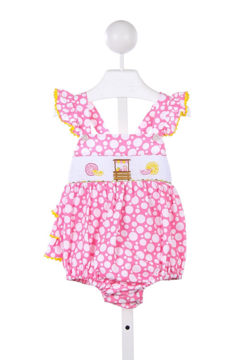 Southern Tots Pink And White Polka Dot Bubble With Smocked Lemonade Stand Very Faint Stain On Smocking