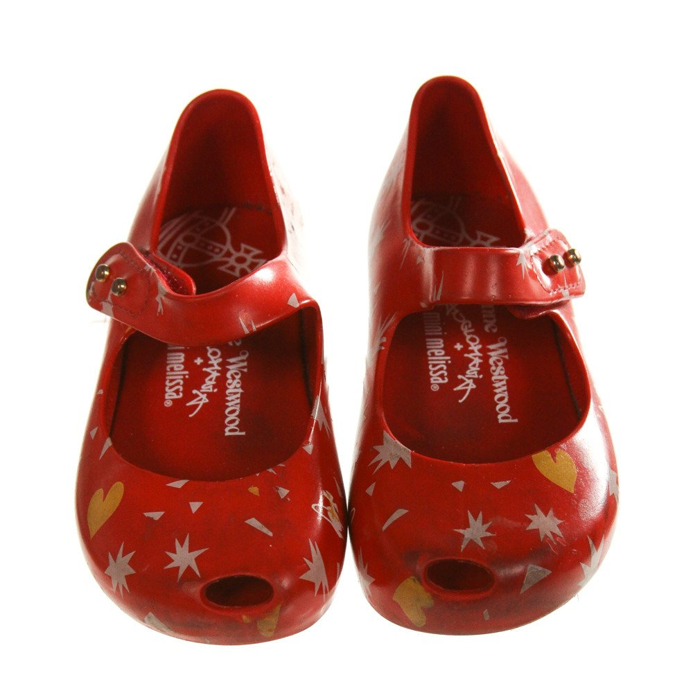 MINI MELISSA RED SHOES *SIZE TODDLER 8, GUC - WEAR AND DISCOLORATION