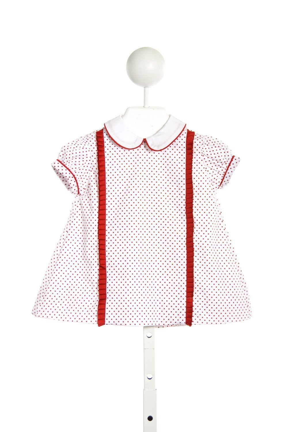 THREAD HEIRLOOM COMPANY TINY DOT TILLY DRESS WITH RED PLEATED RUFFLES