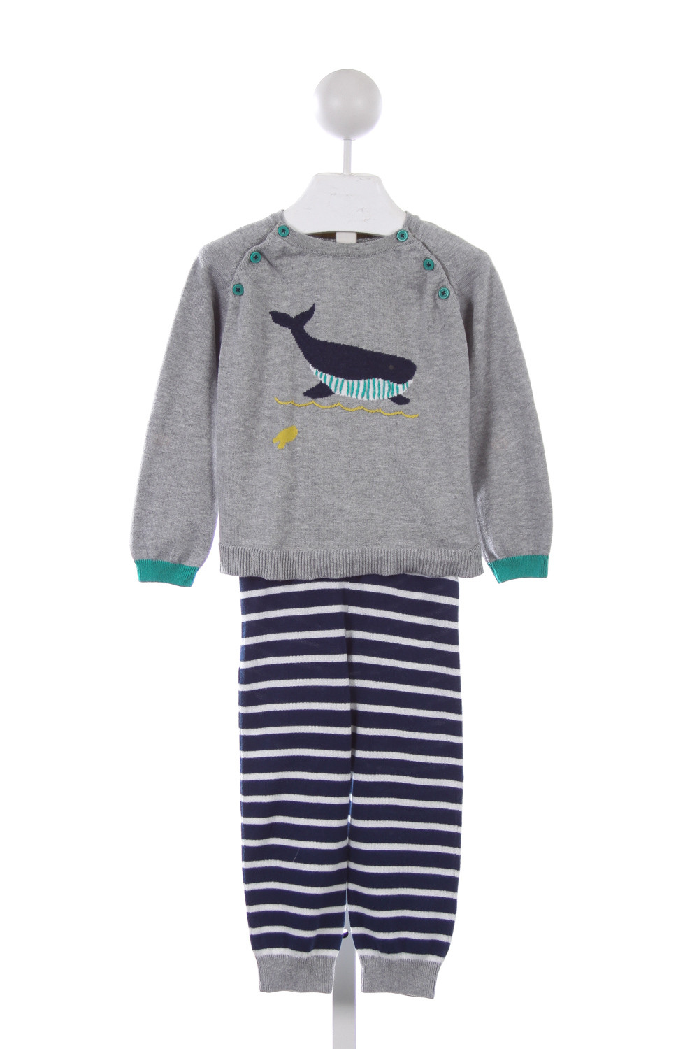 BABY BODEN GRAY AND NAVY WHALE SWEATER SET *SIZE 2-3 - 2T - Boys