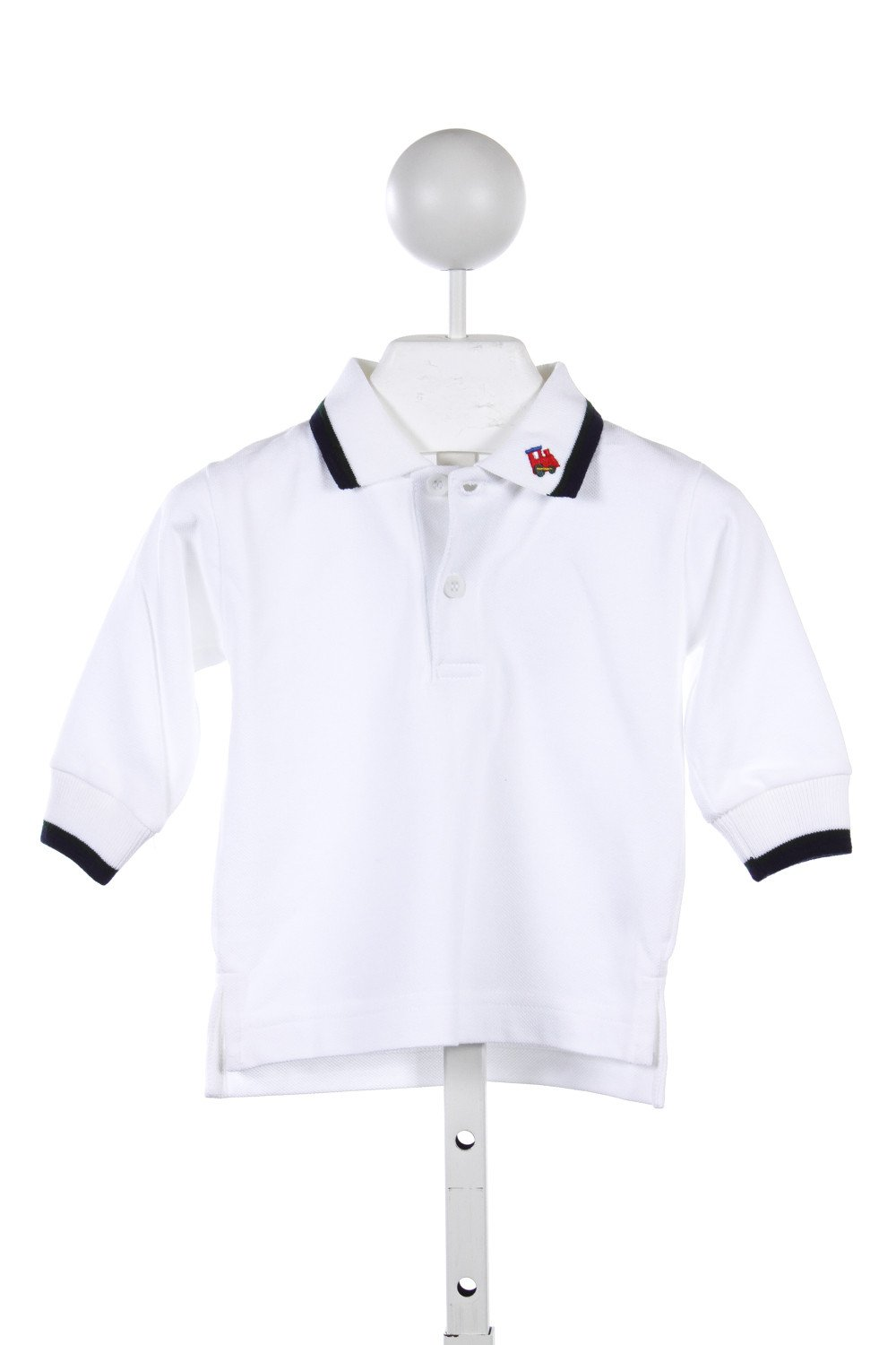 Florence Eiseman White Polo Shirt With Navygreen Trim And