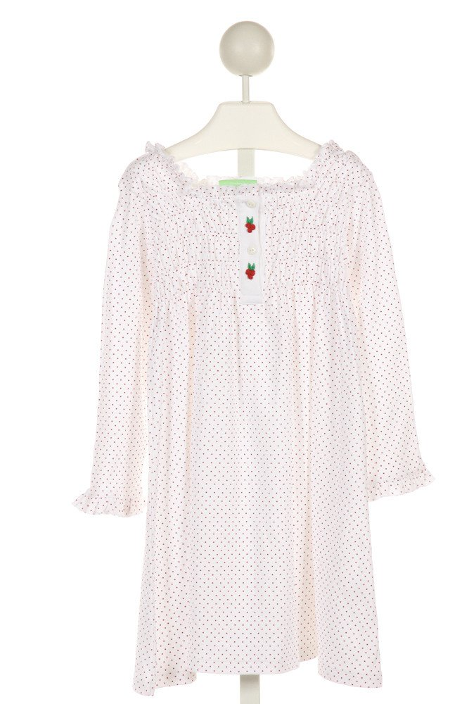 ALICE KATHLEEN  WHITE  POLKA DOT SMOCKED KNIT DRESS WITH RUFFLE