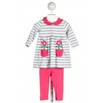 FLORENCE EISEMAN  GRAY KNIT STRIPED APPLIQUED 2-PIECE OUTFIT