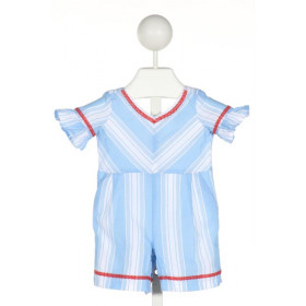 JANIE AND JACK  BLUE COTTON STRIPED EMBROIDERED ROMPER WITH RUFFLE