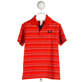 UNDER ARMOUR  RED  STRIPED  CLOTH SS SHIRT