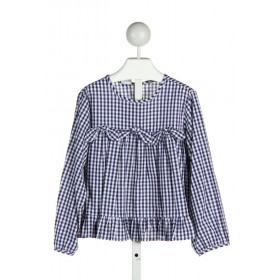 BELLA BLISS  NAVY  GINGHAM  CLOTH LS SHIRT