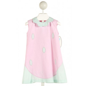LULLABY SET  PINK  STRIPED APPLIQUED DRESS