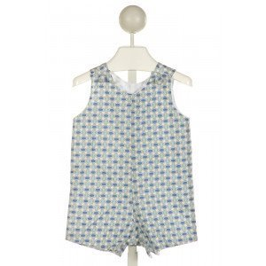 RED BEANS  LT BLUE   PRINTED DESIGN JOHN JOHN/ SHORTALL