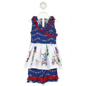 ELEANOR ROSE  MULTI-COLOR  PRINT  2-PIECE OUTFIT WITH RUFFLE