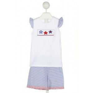 RAGSLAND  WHITE  STRIPED SMOCKED 2-PIECE OUTFIT WITH RUFFLE