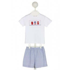 VIVE LA FETE  WHITE  STRIPED SMOCKED 2-PIECE OUTFIT