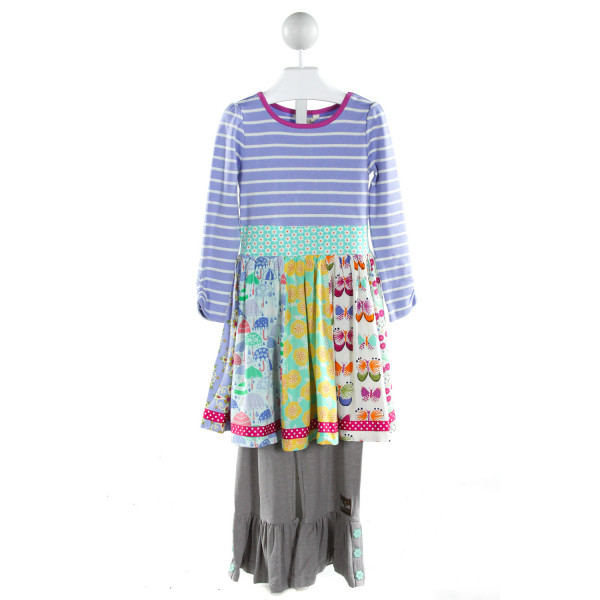 MATILDA JANE  PURPLE  STRIPED PRINTED DESIGN 2-PIECE OUTFIT