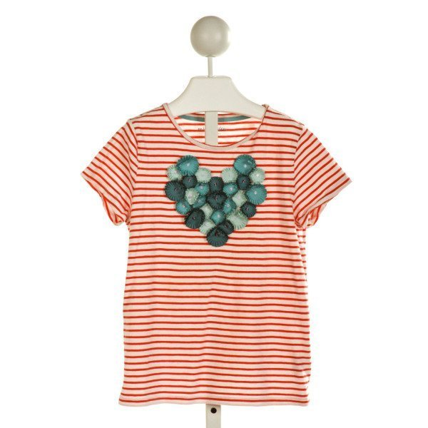 MINI BODEN  OFF-WHITE  STRIPED APPLIQUED T-SHIRT