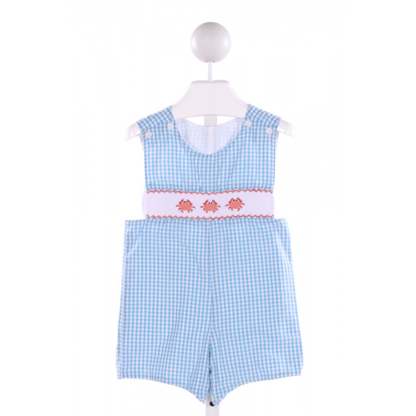 BE MINE  BLUE  GINGHAM SMOCKED JOHN JOHN/ SHORTALL