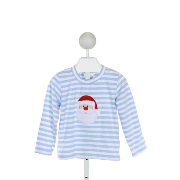 SMOCKED POLKA DOT  LT BLUE  STRIPED EMBROIDERED KNIT LS SHIRT WITH RUFFLE