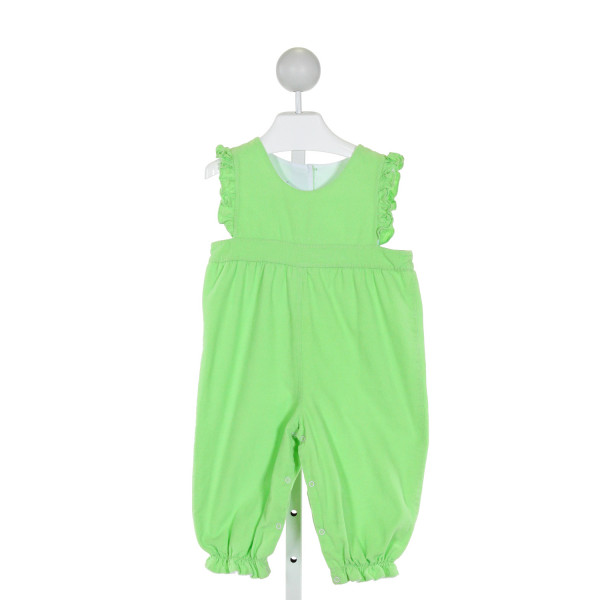 CASTLES & CROWNS  LT GREEN CORDUROY   ROMPER WITH RUFFLE