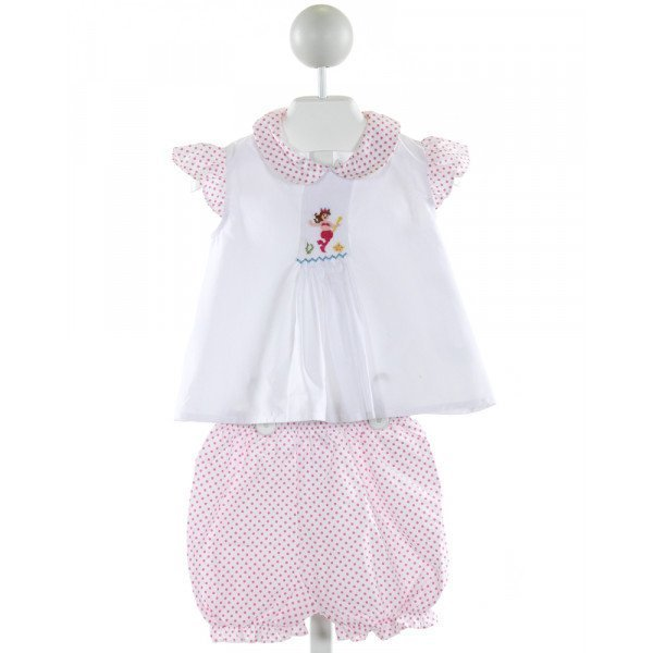 HUG ME FIRST  WHITE  POLKA DOT SMOCKED 2-PIECE OUTFIT WITH RUFFLE