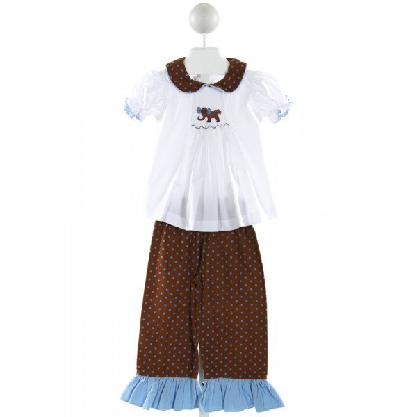 CASTLES & CROWNS  WHITE  POLKA DOT SMOCKED 2-PIECE OUTFIT WITH RUFFLE