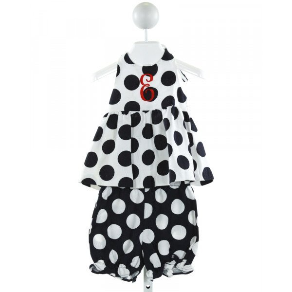 KELLY'S KIDS  NAVY  POLKA DOT EMBROIDERED 2-PIECE OUTFIT WITH RUFFLE