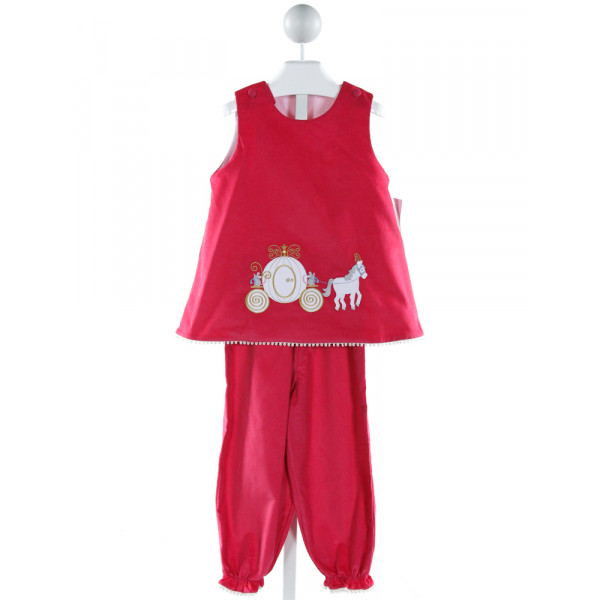 GLORIMONT  HOT PINK CORDUROY  EMBROIDERED 2-PIECE OUTFIT WITH RUFFLE