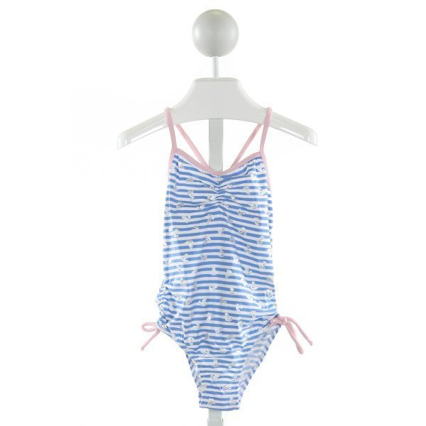 STELLA COVE  LT BLUE  STRIPED PRINTED DESIGN 1-PIECE SWIMSUIT