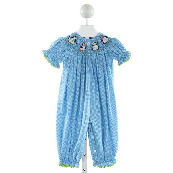 CASTLES & CROWNS  BLUE  GINGHAM SMOCKED ROMPER WITH RIC RAC