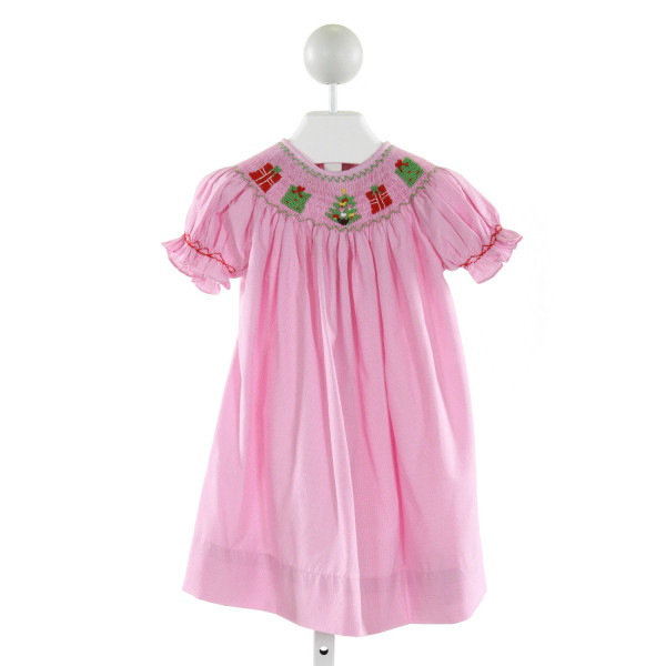 BAREFOOT   PINK  MICROCHECK SMOCKED DRESS WITH RUFFLE