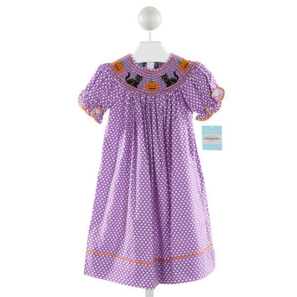 ANAVINI  PURPLE  POLKA DOT SMOCKED DRESS WITH RIC RAC