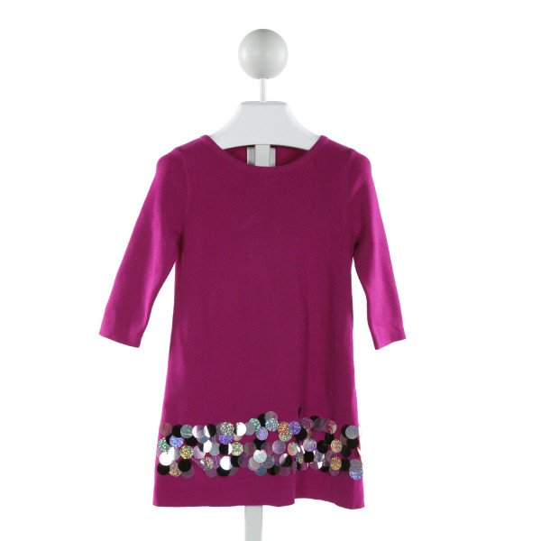 MILLY  PURPLE   APPLIQUED KNIT DRESS