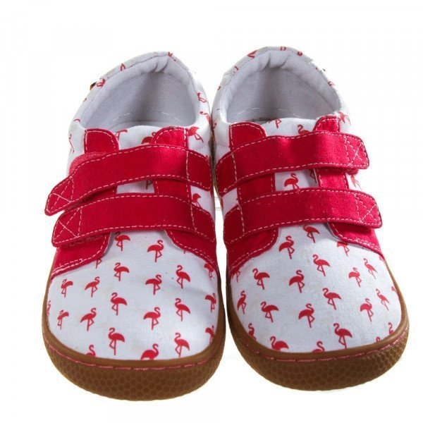 LIVIE & LUCA WHITE SHOES WITH HOT PINK AND OFF-WHITE FLAMINGOS *SIZE TODDLER 13, VGU - LIGHT DISCOLORATION