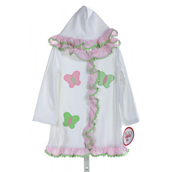 FUNTASIA TOO  OFF-WHITE TERRY CLOTH  EMBROIDERED COVER UP WITH RIC RAC