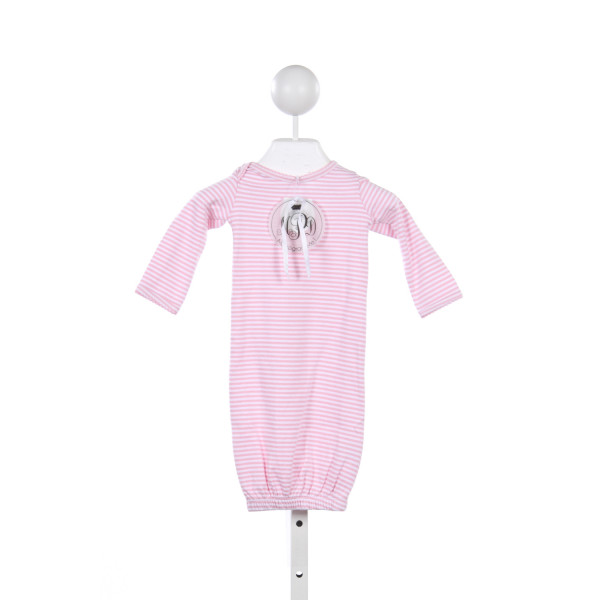 MUD PIE PINK AND WHITE STRIPE KNIT GOWN
