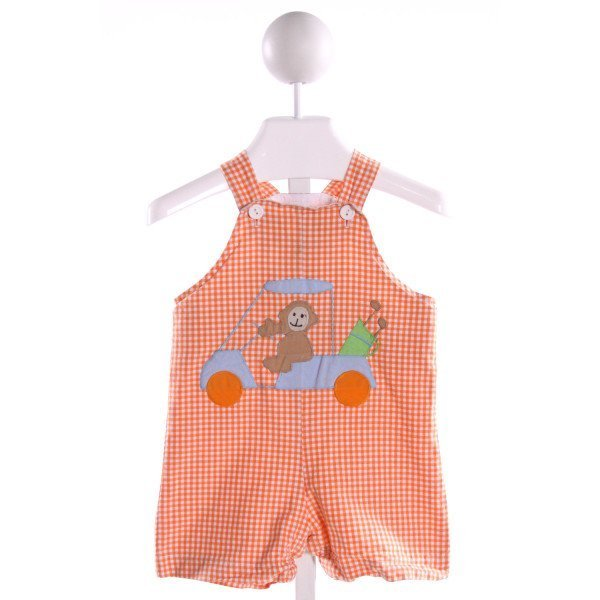 FUNTASIA TOO  ORANGE  GINGHAM EMBROIDERED JOHN JOHN/ SHORTALL