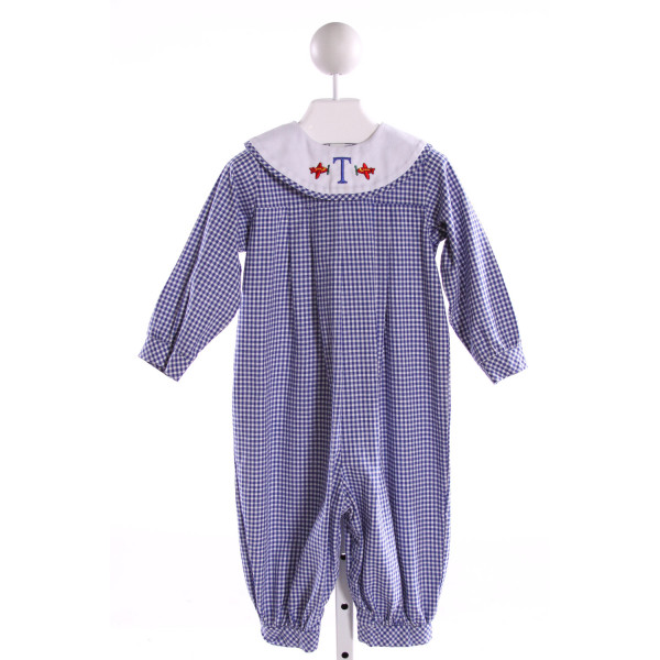RAGSLAND  ROYAL BLUE  GINGHAM EMBROIDERED LONGALL/ROMPER