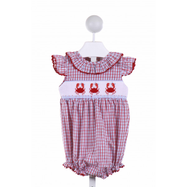SHRIMP & GRITS  MULTI-COLOR  PLAID SMOCKED BUBBLE WITH RIC RAC