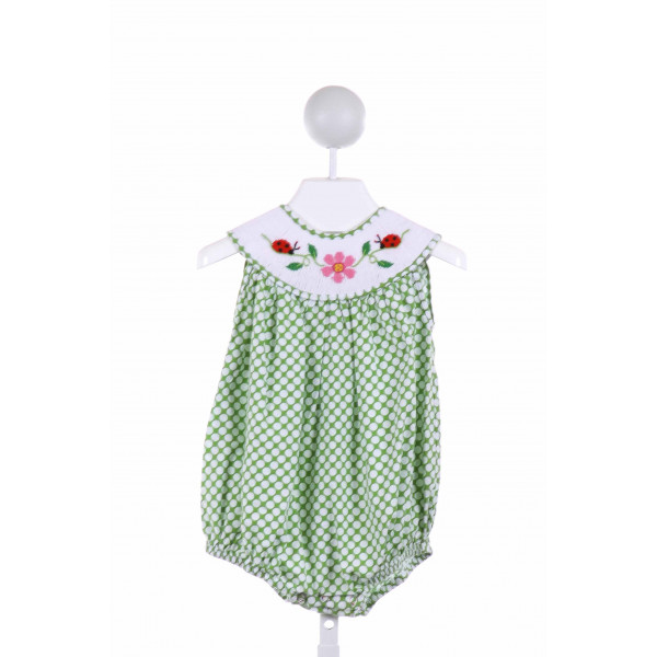 REMEMBER NGUYEN  GREEN  POLKA DOT SMOCKED BUBBLE