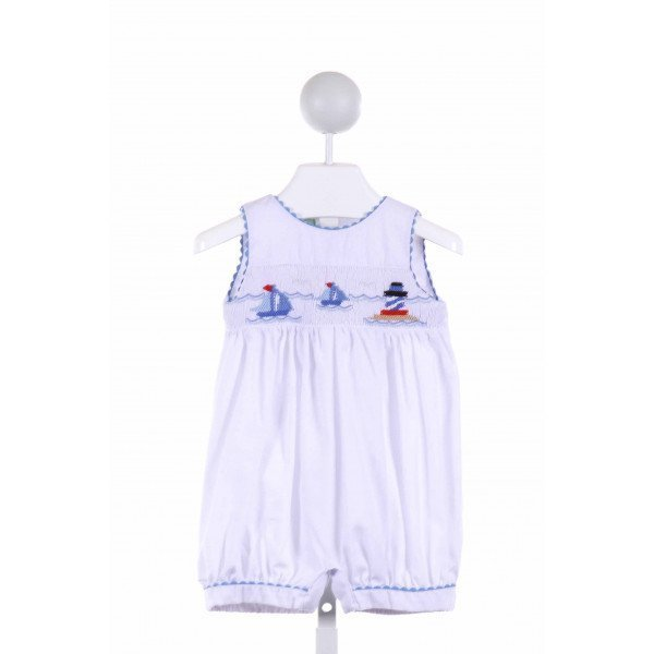 LITTLE THREADS  MULTI-COLOR   SMOCKED ROMPER WITH RIC RAC