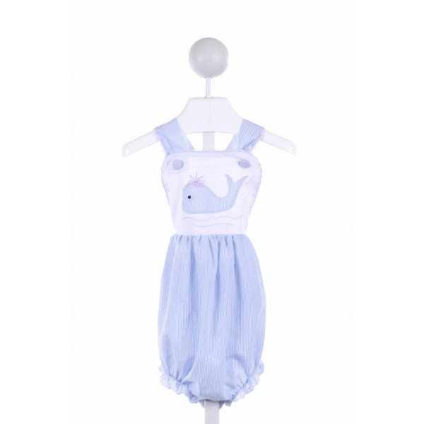SWEET DREAMS  BLUE  STRIPED APPLIQUED BUBBLE WITH RUFFLE