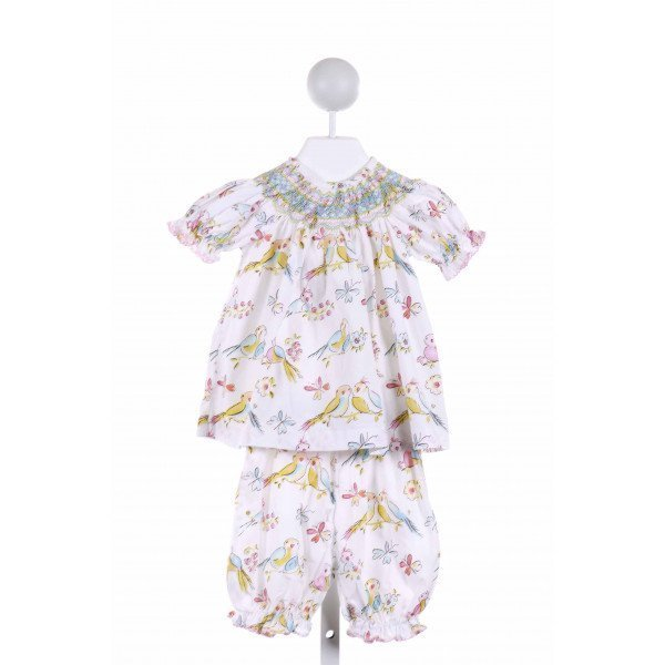 LE ZA ME  MULTI-COLOR  PRINT SMOCKED 2-PIECE OUTFIT