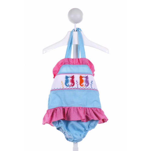 CASTLES & CROWNS  MULTI-COLOR  GINGHAM SMOCKED 1-PIECE SWIMSUIT WITH RUFFLE