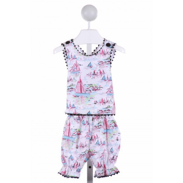 LE ZA ME  MULTI-COLOR  PRINT  2-PIECE OUTFIT WITH RIC RAC