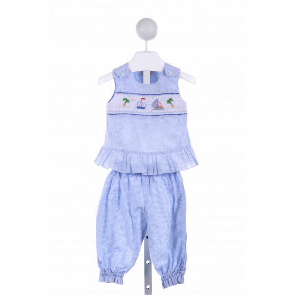 ROSALINA  LT BLUE  GINGHAM SMOCKED 2-PIECE OUTFIT WITH RUFFLE